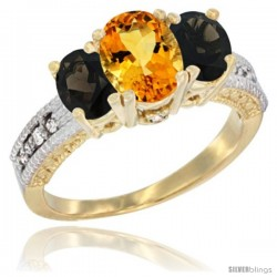 14k Yellow Gold Ladies Oval Natural Citrine 3-Stone Ring with Smoky Topaz Sides Diamond Accent
