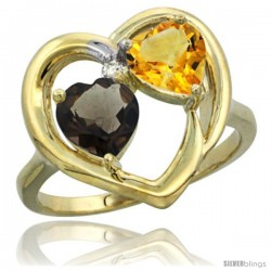 14k Yellow Gold 2-Stone Heart Ring 6mm Natural Smoky Topaz & Citrine Diamond Accent