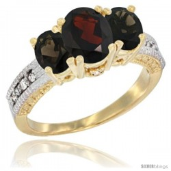 14k Yellow Gold Ladies Oval Natural Garnet 3-Stone Ring with Smoky Topaz Sides Diamond Accent
