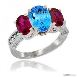 14K White Gold Ladies 3-Stone Oval Natural Swiss Blue Topaz Ring with Ruby Sides Diamond Accent