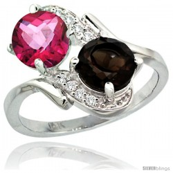 14k White Gold ( 7 mm ) Double Stone Engagement Pink & Smoky Topaz Ring w/ 0.05 Carat Brilliant Cut Diamonds & 2.34 Carats