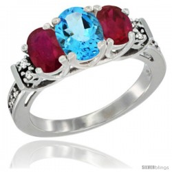 14K White Gold Natural Swiss Blue Topaz & Ruby Ring 3-Stone Oval with Diamond Accent