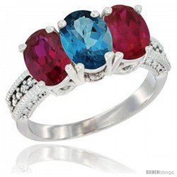14K White Gold Natural London Blue Topaz & Ruby Sides Ring 3-Stone Oval 7x5 mm Diamond Accent