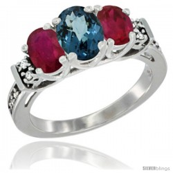 14K White Gold Natural London Blue Topaz & Ruby Ring 3-Stone Oval with Diamond Accent