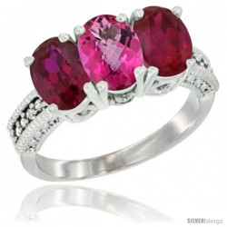 14K White Gold Natural Pink Topaz & Ruby Sides Ring 3-Stone Oval 7x5 mm Diamond Accent