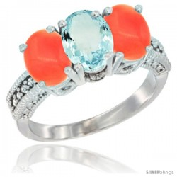 10K White Gold Natural Aquamarine & Coral Sides Ring 3-Stone Oval 7x5 mm Diamond Accent