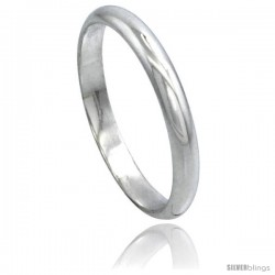 Sterling Silver 3 mm High Dome Wedding Band Thumb Ring