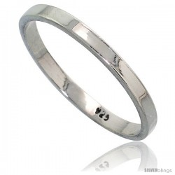 Sterling Silver 2.2 mm Flat Wedding Band Thumb Ring