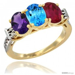 10K Yellow Gold Natural Amethyst, Swiss Blue Topaz & Ruby Ring 3-Stone Oval 7x5 mm Diamond Accent