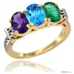 10K Yellow Gold Natural Amethyst, Swiss Blue Topaz & Emerald Ring 3-Stone Oval 7x5 mm Diamond Accent