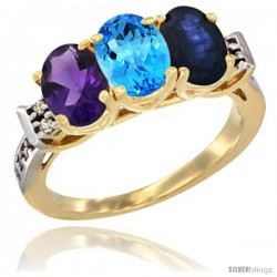 10K Yellow Gold Natural Amethyst, Swiss Blue Topaz & Blue Sapphire Ring 3-Stone Oval 7x5 mm Diamond Accent