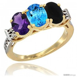 10K Yellow Gold Natural Amethyst, Swiss Blue Topaz & Black Onyx Ring 3-Stone Oval 7x5 mm Diamond Accent