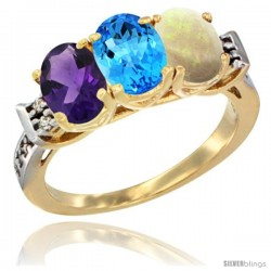 10K Yellow Gold Natural Amethyst, Swiss Blue Topaz & Opal Ring 3-Stone Oval 7x5 mm Diamond Accent