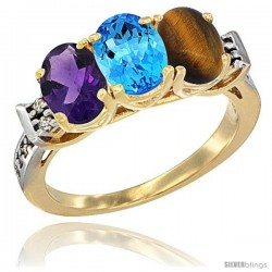 10K Yellow Gold Natural Amethyst, Swiss Blue Topaz & Tiger Eye Ring 3-Stone Oval 7x5 mm Diamond Accent