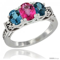 14K White Gold Natural Pink Topaz & London Blue Ring 3-Stone Oval with Diamond Accent