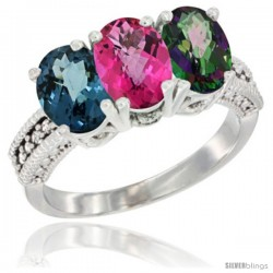 14K White Gold Natural London Blue Topaz, Pink Topaz & Mystic Topaz Ring 3-Stone 7x5 mm Oval Diamond Accent