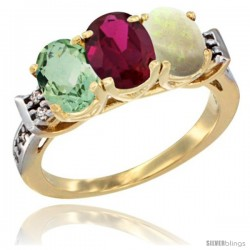 10K Yellow Gold Natural Green Amethyst, Ruby & Opal Ring 3-Stone Oval 7x5 mm Diamond Accent