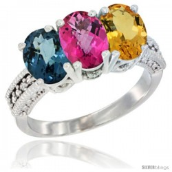 14K White Gold Natural London Blue Topaz, Pink Topaz & Citrine Ring 3-Stone 7x5 mm Oval Diamond Accent