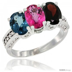 14K White Gold Natural London Blue Topaz, Pink Topaz & Garnet Ring 3-Stone 7x5 mm Oval Diamond Accent