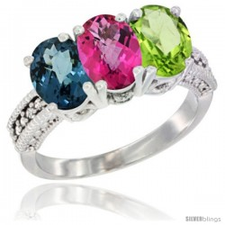 14K White Gold Natural London Blue Topaz, Pink Topaz & Peridot Ring 3-Stone 7x5 mm Oval Diamond Accent