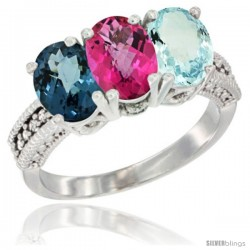 14K White Gold Natural London Blue Topaz, Pink Topaz & Aquamarine Ring 3-Stone 7x5 mm Oval Diamond Accent