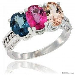 14K White Gold Natural London Blue Topaz, Pink Topaz & Morganite Ring 3-Stone 7x5 mm Oval Diamond Accent