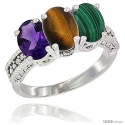 14K White Gold Natural Amethyst, Tiger Eye & Malachite Ring 3-Stone 7x5 mm Oval Diamond Accent
