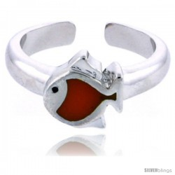 "Sterling Silver Child Size Fish Ring, w/ Orange Enamel Design, 5/16"" (8 mm) wide"