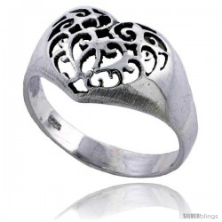 Sterling Silver Filigree Heart Ring 7/16 in wide