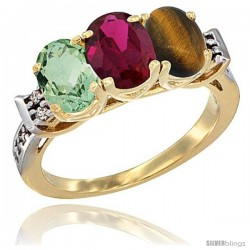 10K Yellow Gold Natural Green Amethyst, Ruby & Tiger Eye Ring 3-Stone Oval 7x5 mm Diamond Accent