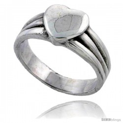 Sterling Silver Heart Ring 3/8 wide