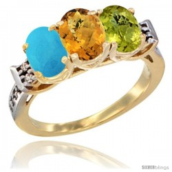 10K Yellow Gold Natural Turquoise, Whisky Quartz & Lemon Quartz Ring 3-Stone Oval 7x5 mm Diamond Accent