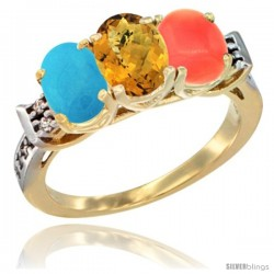 10K Yellow Gold Natural Turquoise, Whisky Quartz & Coral Ring 3-Stone Oval 7x5 mm Diamond Accent