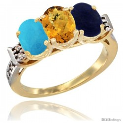 10K Yellow Gold Natural Turquoise, Whisky Quartz & Lapis Ring 3-Stone Oval 7x5 mm Diamond Accent