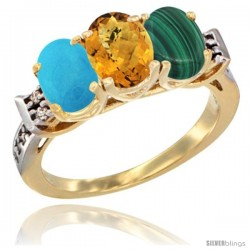 10K Yellow Gold Natural Turquoise, Whisky Quartz & Malachite Ring 3-Stone Oval 7x5 mm Diamond Accent