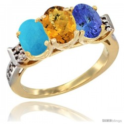 10K Yellow Gold Natural Turquoise, Whisky Quartz & Tanzanite Ring 3-Stone Oval 7x5 mm Diamond Accent
