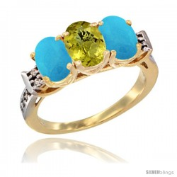 10K Yellow Gold Natural Lemon Quartz & Turquoise Sides Ring 3-Stone Oval 7x5 mm Diamond Accent