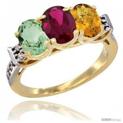 10K Yellow Gold Natural Green Amethyst, Ruby & Whisky Quartz Ring 3-Stone Oval 7x5 mm Diamond Accent