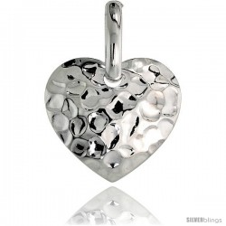 Sterling Silver Heart Pendant Hammered-finish Made in Italy, 3/4 in tall