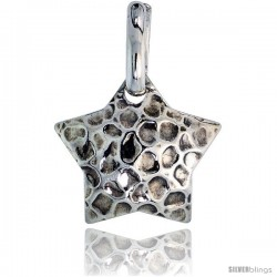 Sterling Silver Star Pendant Hammered-finish Made in Italy, 3/4 in tall