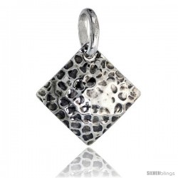 Sterling Silver Square Pendant Hammered-finish Made in Italy, 1 in