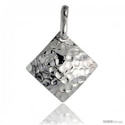 Sterling Silver Square Pendant Hammered-finish Made in Italy, 1 in -Style Ip207