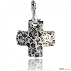 Sterling Silver Cross Pendant Hammered-finish Made in Italy, 3/4 in tall
