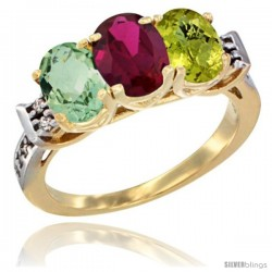 10K Yellow Gold Natural Green Amethyst, Ruby & Lemon Quartz Ring 3-Stone Oval 7x5 mm Diamond Accent