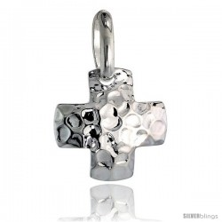 Sterling Silver Cross Pendant Hammered-finish Made in Italy, 3/4 in tall -Style Ip209