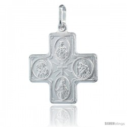 Sterling Silver 4-way Cross Medal Made in Italy, 1 in tall