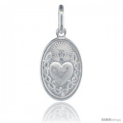 Sterling Silver Sacred Heart of Jesus Oval Medal Made in Italy, 1 in tall