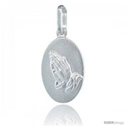 Sterling Silver Praying Hands Medal Made in Italy, 3/4 in tall