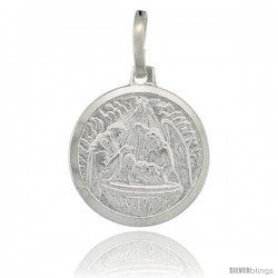 Sterling Silver Baby Jesus & Guardian Angel Round Medal Made in Italy, 5/8 in