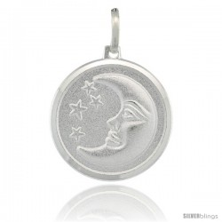 Sterling Silver Crescent Moon w/ Stars Round Medal Made in Italy, 3/4 in